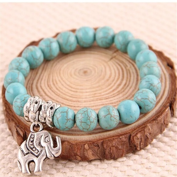 NEW Turquoise Elephant Good Luck Charm Bracelet Boutique